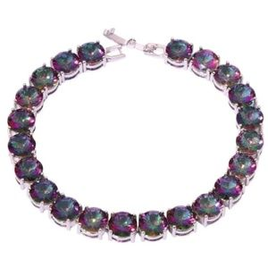 104 Ct.tw Bright Rainbow Topaz 925 Silver Bracelet